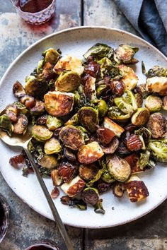 Pan Roasted Brussels Sprouts with Bacon, Dates and Halloumi (ditch the bacon)