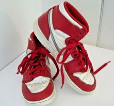 new product dbf1b 08bed Details about Nike Air Jordan Youth Size 4.5 Red And White High Top  Basketball Shoes
