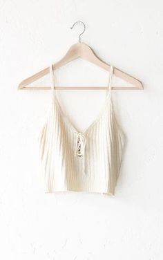 Lace Up V-neck Crop Top - Oatmeal