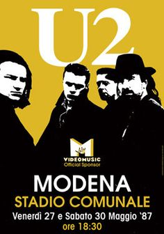 - 27 May 1987 Modena Stadio Comunale Italy vintage classic rock concert poster Rock Posters, Band Posters, Music Posters, Event Posters, U2 Poster, U2 Joshua Tree Tour, Mundo Musical, Bono U2, Vintage Concert Posters
