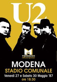 U2 - 27 May 1987 Modena Stadio Comunale italy  - live show artistic concert poster  - manifesto artistico. €10,00, via Etsy.