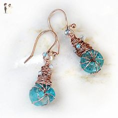 Gorgeous Copper & Recycled Glass Bead Earrings in Teal Blue, Turquoise, Aqua Green - Rustic, Beautiful Wire Wrapped Dangle Earrings - One of a Kind, Handmade Gift for Women, Rose Gold Color - Wedding earings (*Amazon Partner-Link)