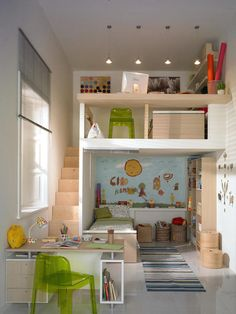 Girl& room: Making children& dreams come true, that& how it& done! Ideas Habitaciones, Cool Kids Rooms, Shared Bedrooms, Girl Room, Kids Bedroom, Storage Spaces, Home Goods, Decoration, Sweet Home