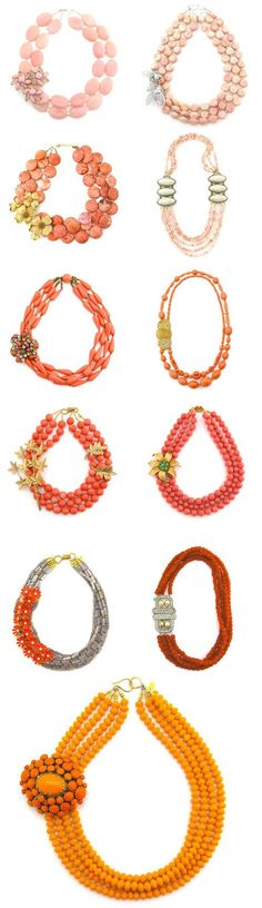coral, peach, pink and orange vintage bridal necklaces from Elva Fields