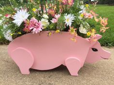 Wood Crafts and Animal Planters by AngelNDaddyCreations Adirondack Chair Plans Free, Piggy Bank, Wood Crafts, Planter Pots, Etsy Seller, Create, Animals, Animales, Money Box