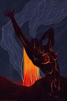 Kim Herbst - Illustration: Sketch Dailies: Pele Goddess of Fire Illustration, art Posca Art, Fantasy Kunst, Goddess Art, Psychedelic Art, Aesthetic Art, Love Art, Dark Art, Female Art, Art Girl