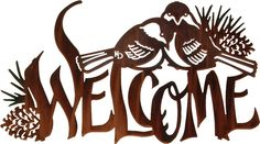 Chickadee Birds Welcome Sign Laser Cut Metal Wall Art