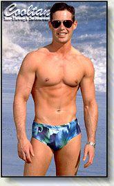 Blue calypso mens tan through swimsuit