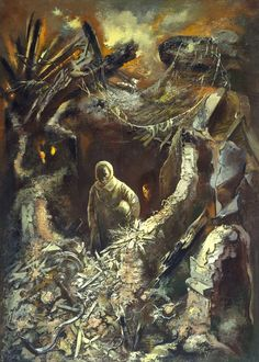 Peace, oil on canvas by George Grosz, German, 1893-1959.  Grosz was bitterly anti-Nazi and left for America before Hitler came to power. All of his art reflected his despair, hate and disillusionment.. A sad figure, he returned to Germany after the war and died from injuries sustained in a fall down a staircase after a night of drinking.   In this reflective painting, Grosz shows a man emerging into the light from the rubble of war. (courtesy original blogger)