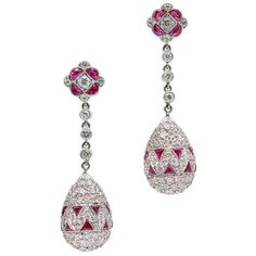 Ruby Diamond Platinum Dangle Earrings (€9.130) ❤ liked on Polyvore featuring jewelry, earrings, ruby jewelry, platinum jewellery, long earrings, platinum earrings and ruby earrings