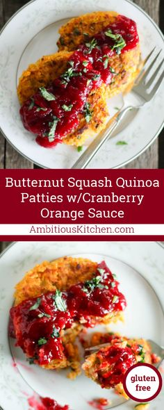 Delicious vegetarian butternut squash quinoa patties with a homemade cranberry orange sauce. Beautiful, simple and gluten free!