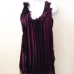 Barbara Bui silk tank with layered raw edge strips across the front. Size 36. Please call (949)715-0004 for inquiries.