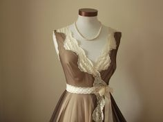 1970's Vintage Peignoir Robe in Coffee and Cream by dreamdate