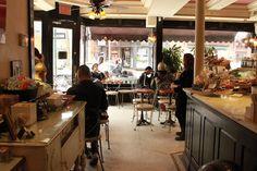 Café Angelique, Bleecker St, New York. JC takes Gwen to breakfast and begins their no commitment arrangement.