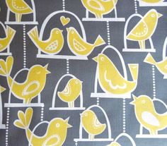 Michael Miller, Bird Swing in Gray  My daughter's room is grey and yellow. Always looking for fabric for projects in there.