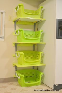 shelf attached baskets | They aren't anything fancy, but I figured I might as well use the ...