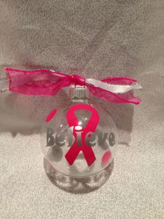 "Breast Cancer Ribbon ""Believe"" Customized Personalized Glass Christmas Ornament with Coordinating ribbons and polka dots on Etsy, $5.00"