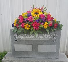 Reserved for R. Hupp-Headstone Saddle-Memorial Flowers-Cemetery Flowers-Grave Flowers-Headstone Saddle-Headstone Flowers For Grave by CoyoteCountryMarket on Etsy