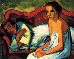 Two Women on a Sofa, 1921 - by Hermann Max Pechstein (1881 – 1955), German