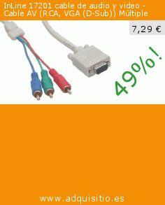 InLine 17201 cable de audio y video - Cable AV (RCA, VGA (D-Sub)) Múltiple (Accesorio). Baja 49%! Precio actual 7,29 €, el precio anterior fue de 14,29 €. http://www.adquisitio.es/inline/17201-rca-vga-d-sub