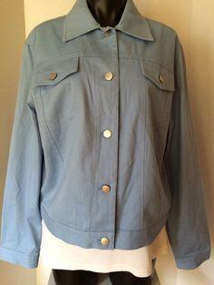 EVAN PICONE Womens L Twill Blazer Blue Stretch Boxy Fit Cargo Casual Jacket #EvanPicone #Blazer