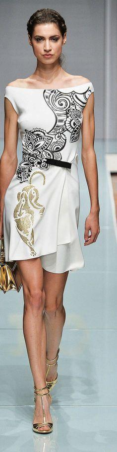white dress, black ornaments  @roressclothes closet ideas women fashion outfit clothing style