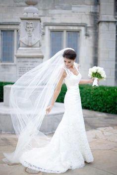 Plain One Tier Chapel Length Tulle Veil With Raw Edge | Wedding Veil | Bridal Veil | Long Wedding Veil | Ivory Wedding Veil | VG1030