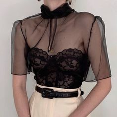 Absolutely incredible vintage Anne Klein onyx organza blouse with puff sleeves, keyhole detail, and an extravagant bow around the neck. Mode Outfits, Casual Outfits, Fashion Outfits, Womens Fashion, Fashion Trends, Fashion Clothes, Fashion Ideas, Summer Outfits, Fashion Tips