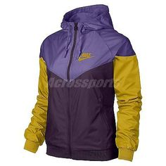 Asian Size Nike Windrunner Purple Yellow Womens Windbreaker Jacket 545909-508
