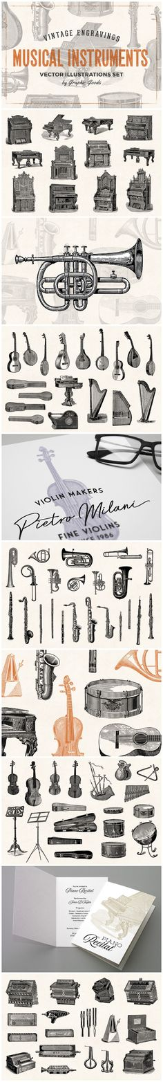 Musical Instruments - Vintage Illustration Set by Graphic Goods Engraving Illustration, Graphic Illustration, Pan Flute, Tin Whistle, Violin Case, Upright Piano, French Horn, Oboe, Retro Logos