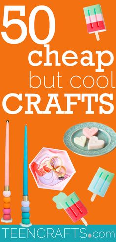 Cheap Crafts For Teens - Cool Craft Ideas and Inexpensive DIY Projects - Handmade Gifts and Room Decor #teencrafts Crafts To Make And Sell Easy, Fun Crafts For Kids, Diy Projects Handmade, Diy Crafts, Handmade Gifts, Teen Crafts, Teenager Cool, Dollar Store Crafts, Crafty