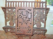 Antique Victorian Eastlake Fretwork Hanging Shelf Wood Openwork Aesthetic ugly but like idea for using fretwork