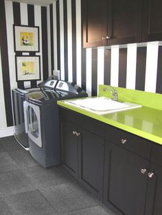 Photo about Laundry room with black appliances and black cabinets green counter tops and black and white stripped wall paper and a sink. Image of floor, house, wood - 12251028 Laundry Room Wallpaper, Laundry Room Bathroom, Laundry Room Design, White Bathroom, Funky Bathroom, Basement Laundry, Laundry Area, Bathroom Small, Bathrooms