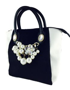 Black-and-white totebag with embellishment available at Amazon.