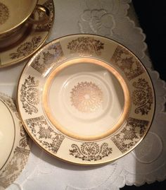 "Very vintage (c. 1920s) Pair of Johnson Brothers ""Victorian Gold"" double-handled cream soup bowls w/matching under-plates. MINT!"