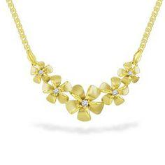Yellow Gold Five Plumeria Diamond Necklace #flowers #hawaiian #island #lifestyle #jewelry www.nahoku.com