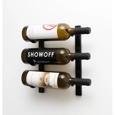 # diy wine rack easy wall mount VintageView - 3 Bottle Wall Mounting Metal Wine Rack - 3 Available Finishes
