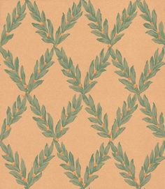 Pushkin (W800-4) - Sheila Coombes Wallpapers - A traditional laurel leaf diamond trellis in green with tiny orange flowers on a rag roll effect sand background.  Please request sample for true colour match.