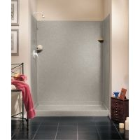 Swanstone solid surface shower surround.  No grout lines (YAY!) DIY shower for $1,500.