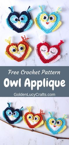 This cute crochet Owl applique free pattern continues my series of heart shaped creations. Crochet Owl Applique, Crochet Motif Patterns, Crochet Patterns For Beginners, Applique Patterns, Crochet Appliques, Amigurumi Patterns, All Free Crochet, Cute Crochet, Easy Crochet Bookmarks