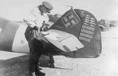 Messerschmitt Bf White 1 Wolfdieter Huy WNr 13633 transit to North Africa Oct 1942 02 Luftwaffe, Heroes And Generals, Wolf, Victoria, Nose Art, Aviation Art, Rare Photos, North Africa, Military History
