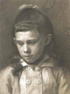 Gustav Klimt (Austrian, 1862-1918) Portrait of a Girl, Head Slightly Turned Left, 1879