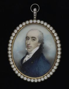 A portrait miniature of a Gentleman, wearing blue coat and white waistcoat, Andrew Plimer