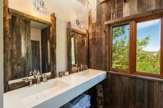Castle Cabin in the Mountains | Woodz Utah, Cabin Bathrooms, Rustic Bathrooms, Design Rustique, Forced Air Heating, Copper Roof, Custom Cabinetry, Log Homes, Castle