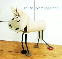 horse marionette from recycled materials