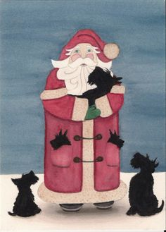Santa surrounded by scotties (scottish terriers) / Lynch signed folk art print