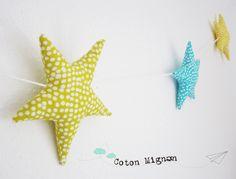 Girnalda de estrellas de tela coton mignon