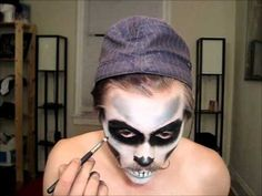 Sugar skull makeup--This boy is an adorable genius!