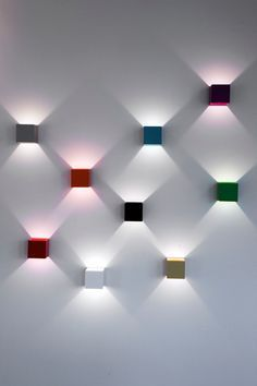 Clever little wall lights. by Kristján Kristjánsson – 2010 Lighthouse – Iceland Lux is a simple wall lamp, which produces a decorative lighting effect. As they rotate 360 degrees you can arrange a real light show Modern Lighting Design, Cool Lighting, Interior Lighting, Modern Design, Industrial Lighting, Lighting Ideas, Accent Lighting, Party Lighting, Ceiling Lighting