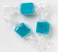 Bulk Blue Peppermint Cubes in a clear cellophane wrapper. These have a cool mint flavor. Great as a breath freshener.